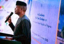 Vice President Yemi Osinbajo speaking at the AICC