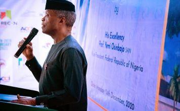 Vice President Yemi Osinbajo speaking at the AICC Digital Currency