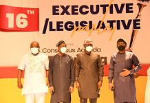 From R-L: Speaker, House of Representatives, Rt. Hon. Femi Gbajabiamila; Lagos State Governor, Mr. Babajide Sanwo-Olu; Deputy Governor, Dr. Obafemi Hamzat and Speaker, Lagos House of Assembly, Rt. Hon. Mudashiru Obasa during the opening of a three-day Executive/Legislative parley with the theme: A consensus Agenda for Rebuilding Lagos, at the Eko Hotels and Suites, Victoria Island, on Friday, February 26, 2021.