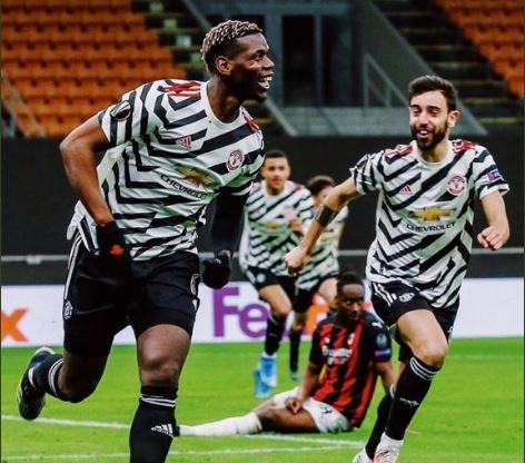 Pogba Celebrates Man Utd winning goal against AC Milan
