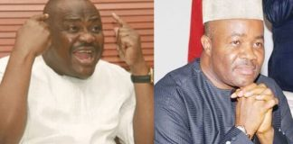 Rivers state governor Nyesom Wike and Minister of Niger Delta Godswill Akpabio