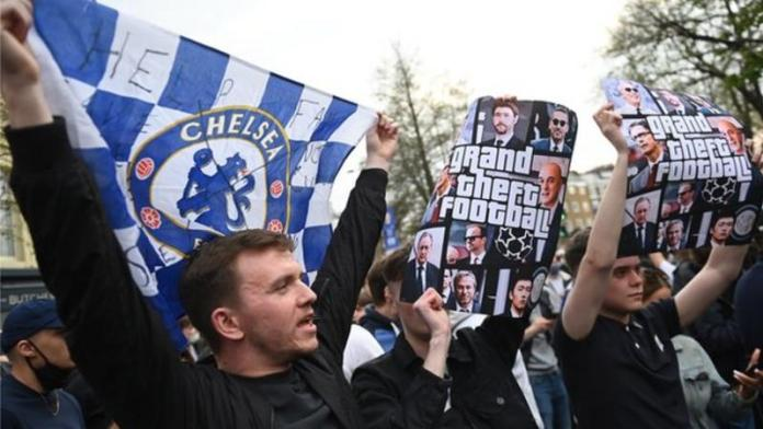 Chelsea's intentions to league the European Super League game as fans protested their involvement outside the Stamford Bridge