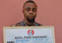 Ukaeje John Emeka was arrested for selling human organs by the EFCC