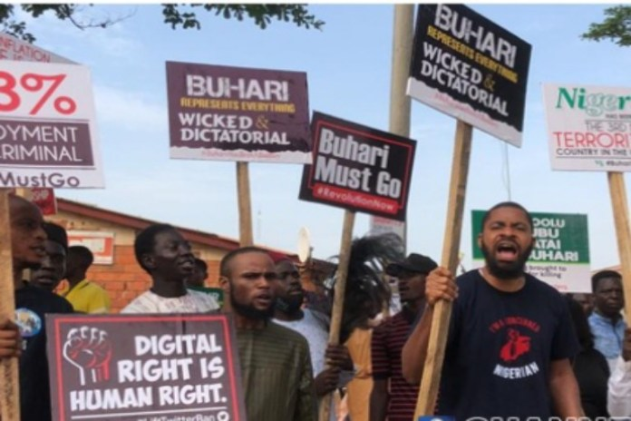 Anti-Buhari Protesters were dispersed with teargas by the Nigeria Police
