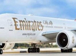 Emirates aircraft in the airport