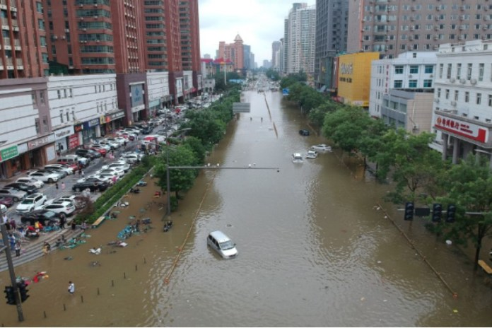 An aerial view of flooded areas in China