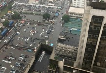 Car parks at Marina were submerged due to the heavy downpour