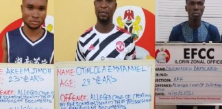 Prince Oyinlola Adedayo, Jimoh Akeem Lawal and Owonikoko Kehinde Damilare were arrested by EFCC for cybercrime in ilorin