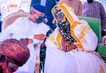 Vice President Yemi Osinbajo SAN attends the coronation of the Emir of Kano, Alhaji Aminu Ado Bayero at the Sani Abacha Stadium in Kano State