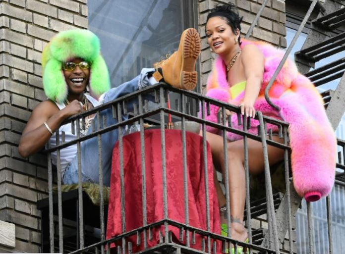 A$AP Rocky and Rihanna are seen filming a music video in the Bronx on July 11, 2021