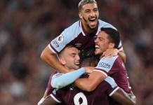 Antonio Michail scored twice for West Ham against Leicester