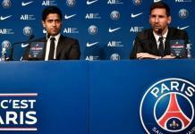 Lionel Messi spoke to reporters at the Parc des Princes alongside PSG president Nasser Al-Khelaifi