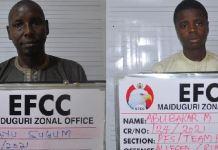 Mal Ayu Sugum and Abubakar Mustapha Bakura were arrested by EFCC in Maiduguri, Borno State