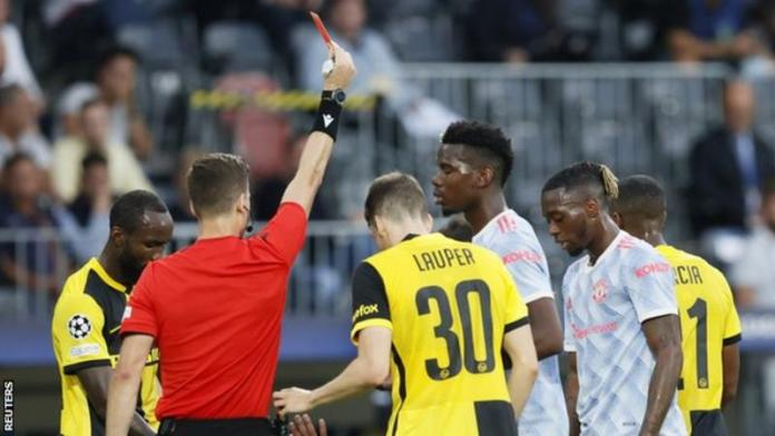 Aaron Wan-Bissaka was sent off for the first time in three years Young Boys