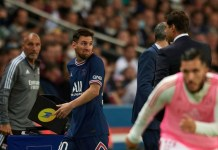 Messi was substituted due to a knee injury