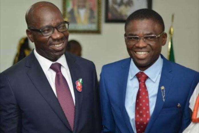 Edo Governor Godwin Obaseki and Deputy Governor Philip Shuaibu