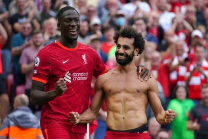 Mo Salah scored twice as Mane netted his 100th Premier League goal