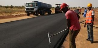 A road under construction in Nigeria