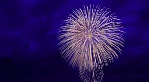 Image of fireworks in blue sky