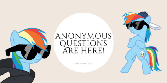 a rectangle imagine with the words 'anonymous questions are here' featuring incognito rainbow dash from my little pony