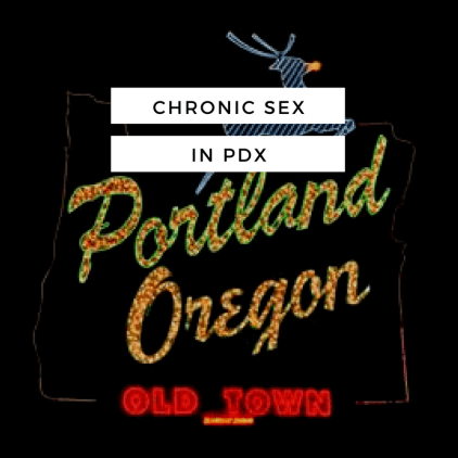 a neon sign with the outline of the state of oregon with rudolph the reindeer on top containing the words portland oregon old town in neon - white overlay with black text 'chronic sex in pdx'