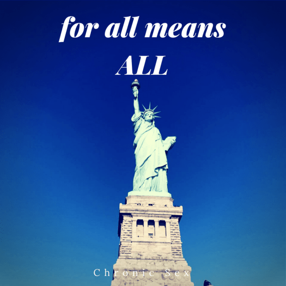 'for all means for all' in white text over a front-on photo of the statue of liberty