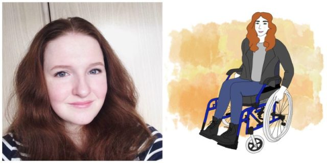 left: a photo of shona - she has shoulder length-reddish-brownish hair; right: a drawing of shona utilizing a wheelchair, with the same hair, an olive-green jacket and beige shirt, jeans, and black boots against an orange-ish watercolor background