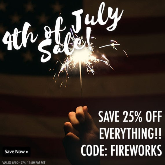 "a hand holding a sparkler against a dark background - white fancy text says ""4th of July sale!"" at the top while all-caps white text in the lower righthand corner says ""save 25%off everything!! Code: Fireworks"""