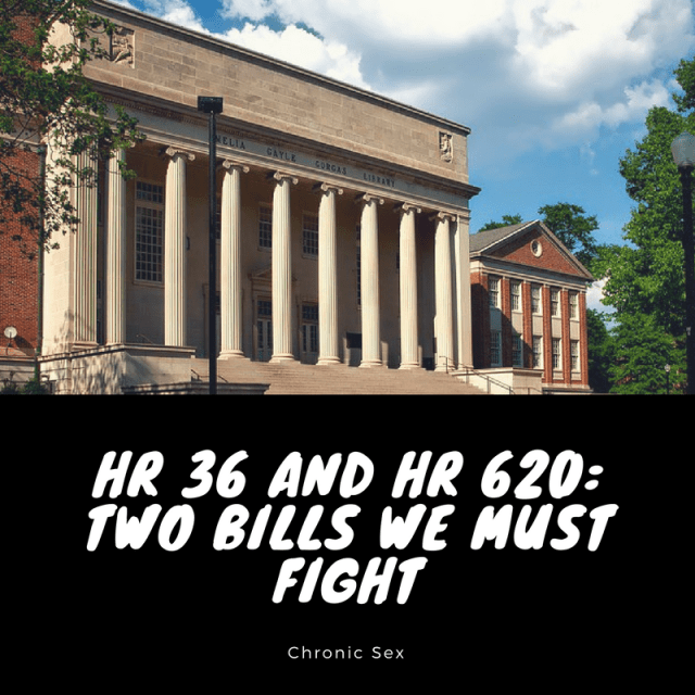 "Photo of the Supreme Court building against a blue sky - a black text box on the lower half with white text: ""HR 36 and HR 620: Two Bills We Must Fight - chronic sex"""