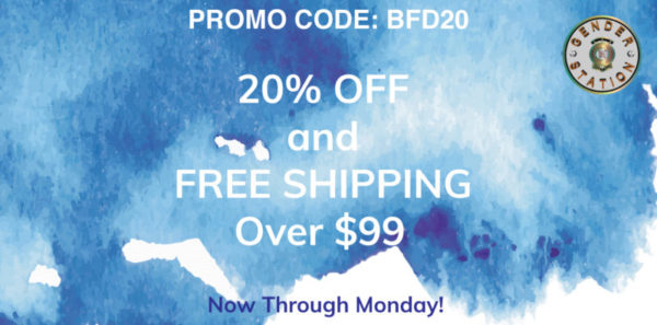 "blue watercolor background with white text ""PROMO CODE: BFD20 20% OFF AND FREE SHIPPING OVER $99"" and black text ""Now Through Monday!"""