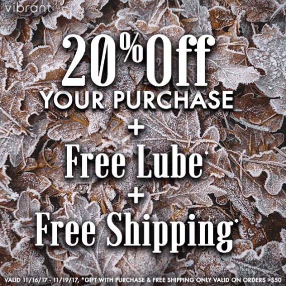 "photo of frost on leaves with white text ""20% off your purchase + free lube + free shipping"""