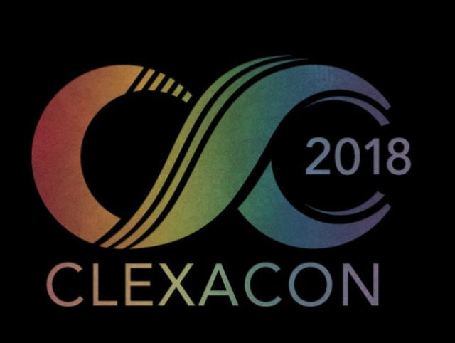 Clexacon logo (rainbow infinity symbol on its side with '2018' at the most righthand side) with ClexaCon written in rainbow below against a black background