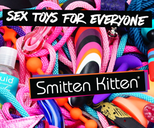a photo of various brightly colored sex toys with white text in black text boxes: sex toys for everyone - smitten kitten