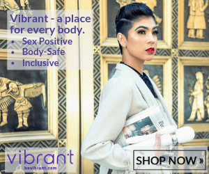 photo of an androgynous looking person holding a white vibration wand in front of an intricately designed wall   text: Vibrant - a place for every body. -Sex-Positive -Body-Safe -Inclusive   Shop Now