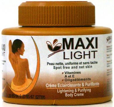 Maxi Light Peau nette, uniforme et sans tache, Vitamines A et E, Oligoéléments, Crème éclaircissante et purifiante pour le corps Image