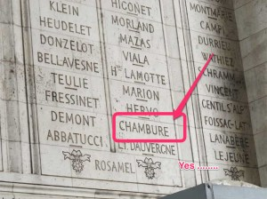 Mention de Laurent Augustin Pelletier de Chambure sous l'Arc de Triomphe