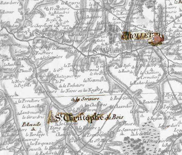 Carte Cassini des environs de Cholet et St Christophe du Bois