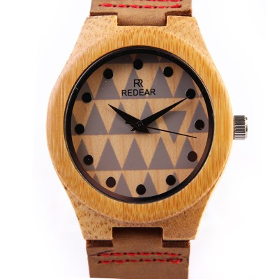 bamboo wood watch with triangle pattern