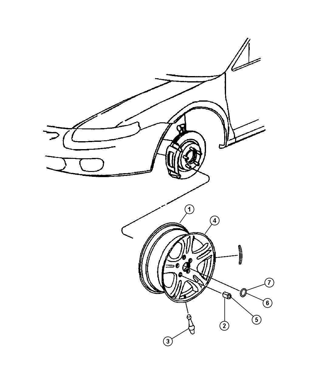 Chrysler Sebring Cap Wheel Center Chrome Wn5