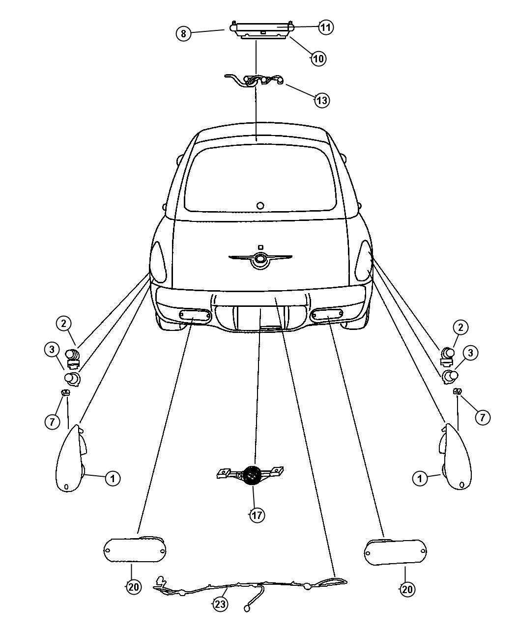 Chrysler Pt Cruiser Lamp Backup Export Lamps Rear