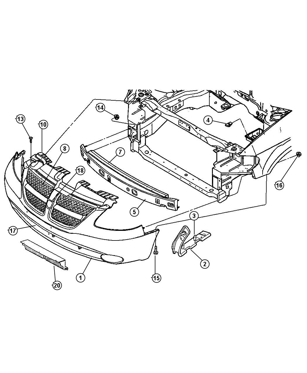 Chrysler Town Amp Country Guard Condenser Front