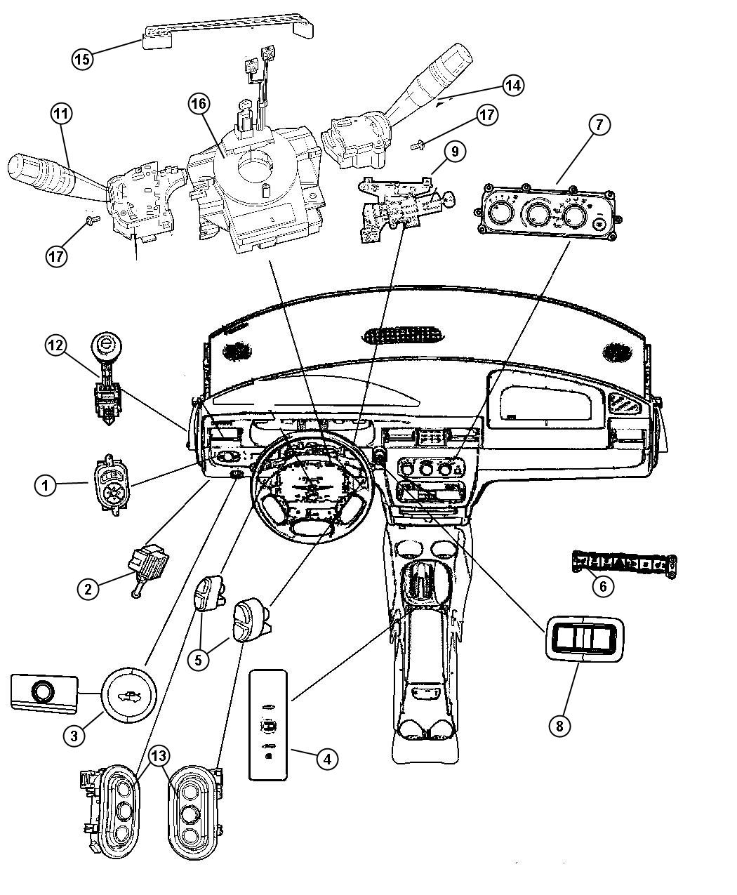 Chrysler Sebring Switch Ignition Export Trim All