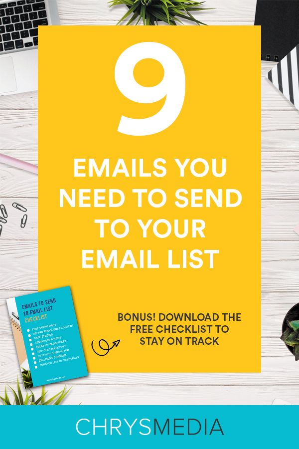 9 Types of Emails You NEED to Send to Your Email List pinterest