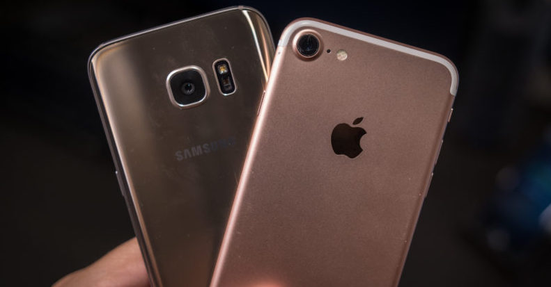 The Globe   Apple vs  Samsung Photo an iPhone and a Samsung Galaxy S8   https   www androidauthority com us supreme court apple vs samsung 721217