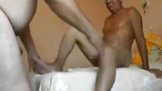 Old man banging younger