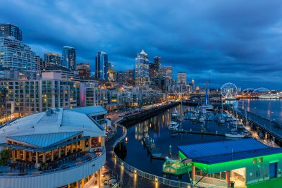 City skyline at dusk from Bell Street Pier in Seattle, Washington, USA