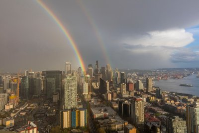 Double rainbow from the top of the Space Needle in Seattle, Washington, USA