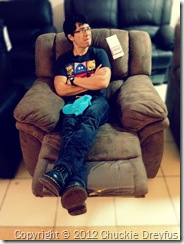 Trying out Mandaue Foam's very own comfy recliner. Me likey! :)