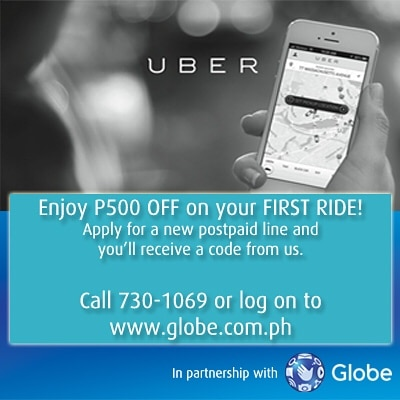 Globe and Uber promo - P500 OFF on your first ride! - All