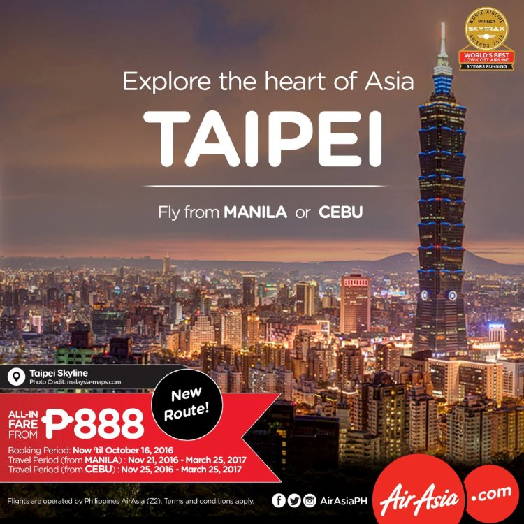 Philippines AirAsia - Manila and Cebu to Taipei